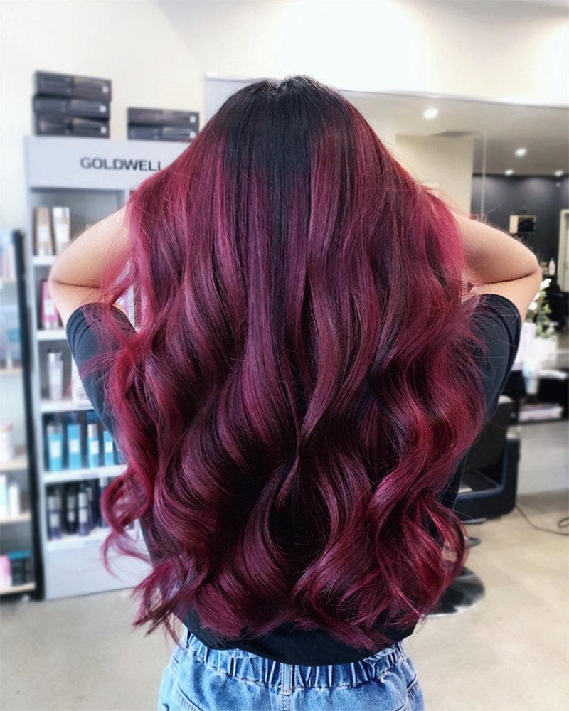 Burgundy Hair Color, Burgundy Haircuts, Burgundy Hairstyle, #burgundyhaircolor